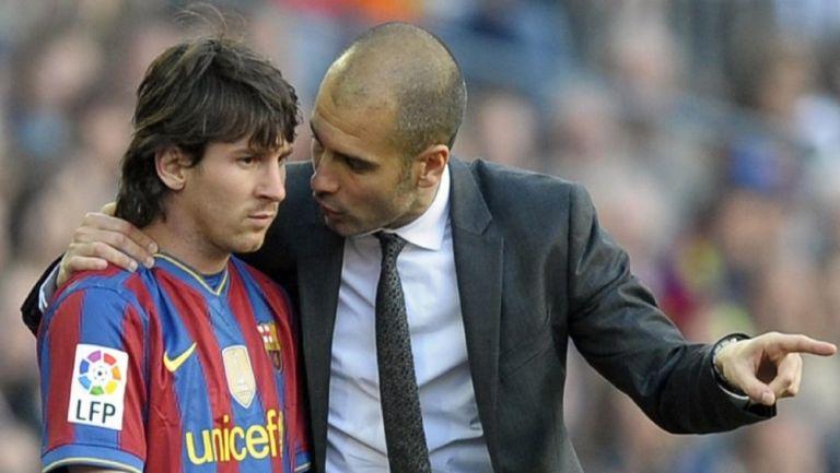 Leo Messi junto a Pep Guardiola en el Barcelona