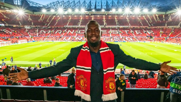 Usain Bolt en el Old Trafford