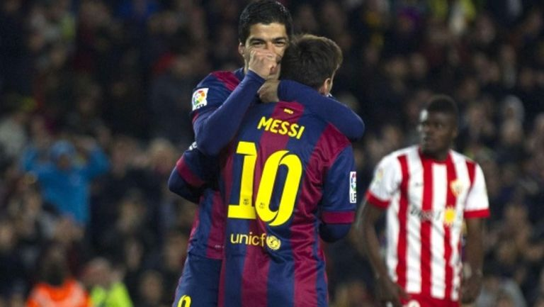 Luis Suárez y Messi con el Barcelona