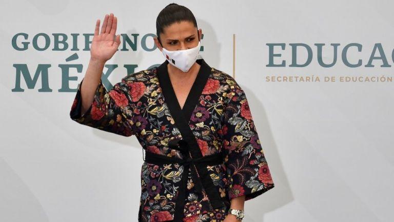Ana Gabriela Guevara en la despedida de la delegación mexicana rumbo a Tokio 2020