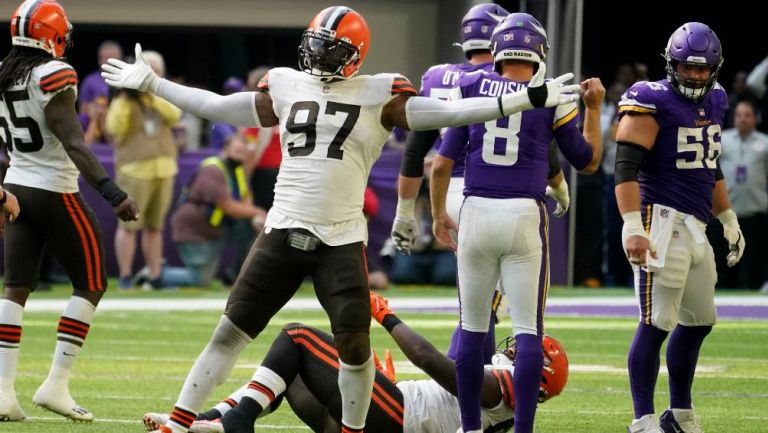 Los jugadores de los Browns festejando