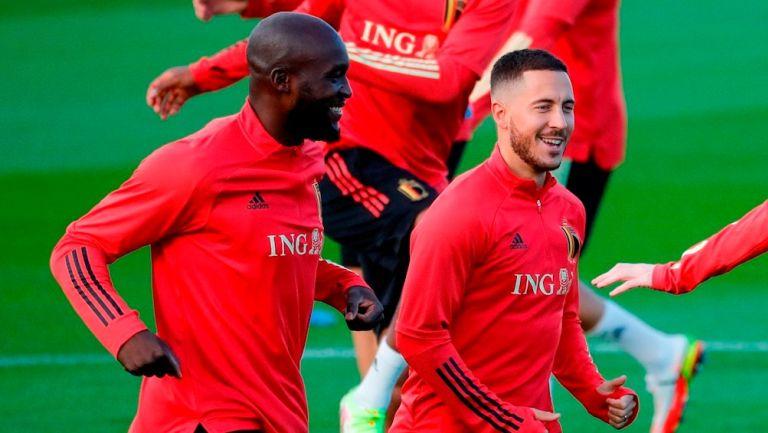 Hazard y Lukaku durante un entrenamiento con Bélgica