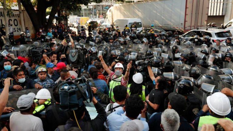 Enfrentamiento entre gaseros y policía de CDMX