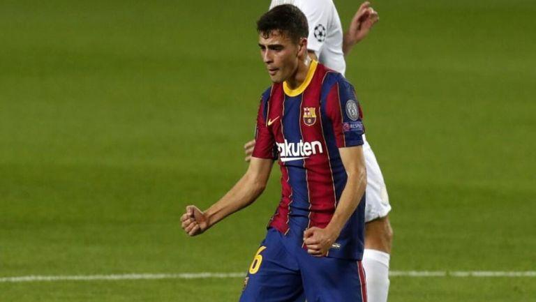 Pedri González festeja un gol con el Barcelona